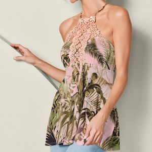 VENUS Palm Print Lace Detail Top NWOT Pink
